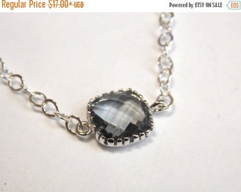 SALE Gray Necklace, Glass Necklace, Silver Necklace, Charcoal, Grey, Bridesmaid Necklace, Bridal Jewelry, Bridesmaid Gift