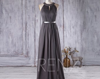 2017 Charcoal Chiffon Bridesmaid Dress, Hollow Neck Wedding Dress, Ruched Prom Dress, Long Evening Gown, Maxi Dress Floor Length (J066)
