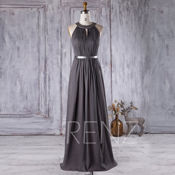 2017 charcoal chiffon bridesmaid dress hollow neck wedding for Charcoal dresses for weddings