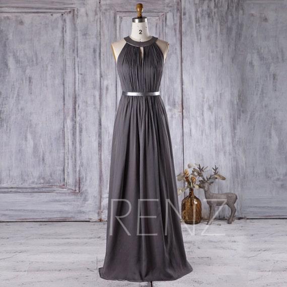 2017 Charcoal Chiffon Bridesmaid Dress Hollow Neck Wedding