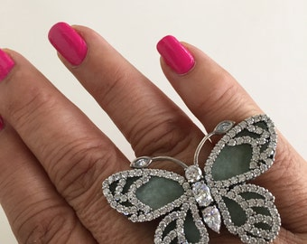 Sterling jade butterfly statement ring