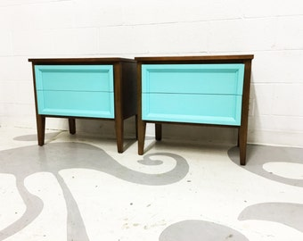 FREE SHIPPING mid century modern end tables with  two painted in turquoise drawers in great condition