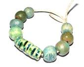 Ceramic Bead Set Stoneware Handmade Pottery Beads Rustic Blues