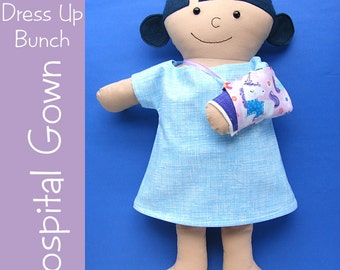 Doll Hospital Gown, Panties, Cast and Sling Pattern