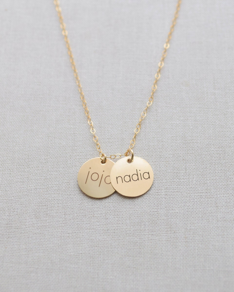 engraved name necklace small name disk necklace brushed