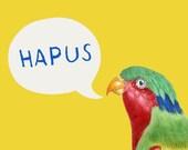 Hapus Yellow Parrot Welsh Happy Art Welsh Text Ceramic Mug 11oz
