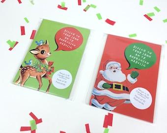 SALE - SEL - Diolch yn Fawr Pack of 10 Welsh Thank you Christmas Postcard Santa Reindeer