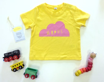 Baby Clothes Yellow T-shirt Welsh Text Hapus Happy Cloud Pink