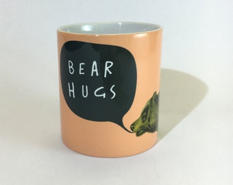 SALE - SEL - Bear Hugs Peach Art English Text Ceramic Mug 11oz