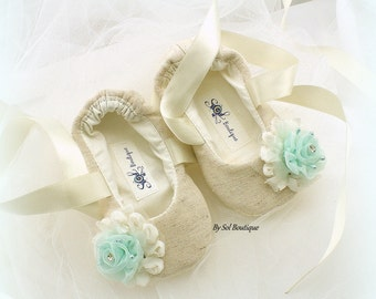 Baby Girl Shoes, Tan, Aqua, Blue, Baby Flats, Baptism, Ivory Flats, Baby Ballet Flats, Birthday, Linen Shoes, Gift for Baby, Christening