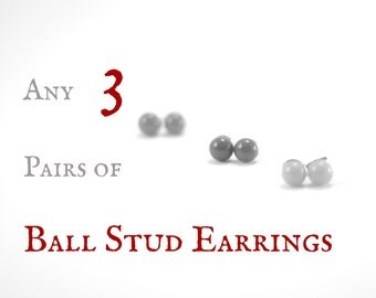 Three pairs of small ball stud earrings,  choose your color, size and finish, set of 3 post earrings