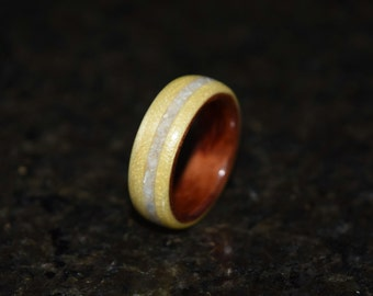 Hand Made (Bentwood Method) Bubinga Waterfall wrapped in Curly Maple with  Mother of Pearl inlay Wooden Ring