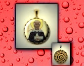 St FRIDESWIDE Patron Saint Oxford Orthodox Icon hand pressed flat metal button CABOCHON in Brass Charm / Pendant