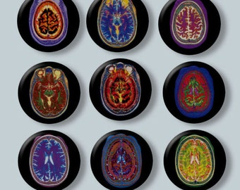 "Brain Scans Neurology Nuclear Medicine Radiology 9 Hand Pressed Pinback 1"" Buttons Badges Pins"