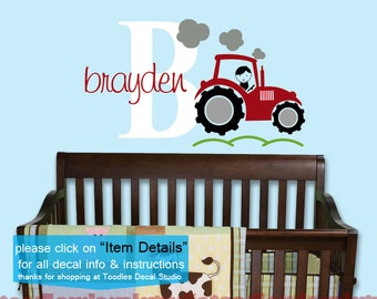 Red Tractor Wall Decal, Initial Decal, Boys Vinyl Wall Decals, Farm Wall Decals, Kids Playroom Decals, Boys Tractor Nursery, Large Name