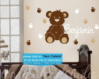 Teddy Bear Wall Decal - Bear Sticker - Gender Neutral Teddy Theme for Kids Room - Bear Nursery Decal - Name Wall Decal