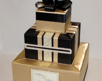 Gold and Black Wedding Card Box