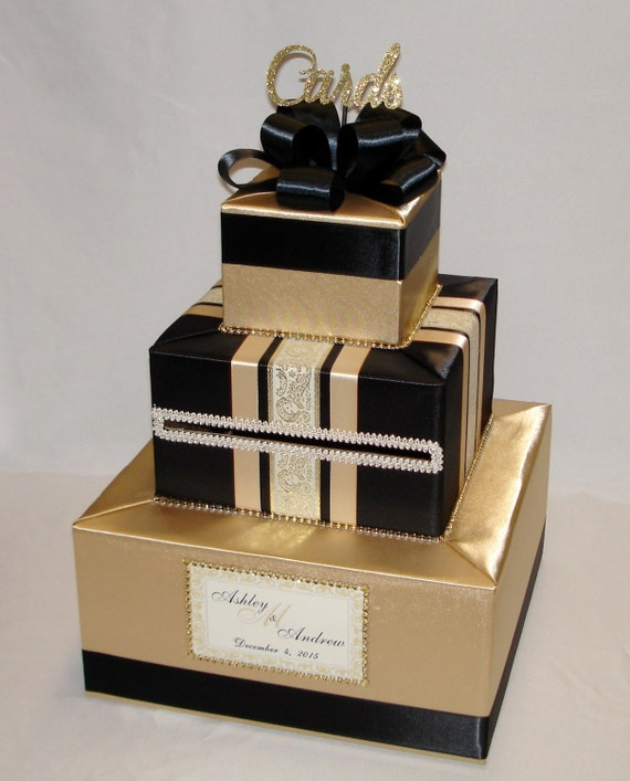 Wedding Card Gift Boxes: Gold And Black Wedding Card Box