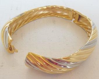 Vintage Clamper Bracelet Bangle Two Tone Gold Silver 60's (item 208)