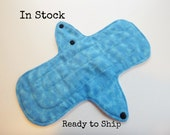 10 inch cloth pad - cloth menstrual pad - medium or light flow pad - plus size cloth pad - teal blue flannel top - in stock ready to ship