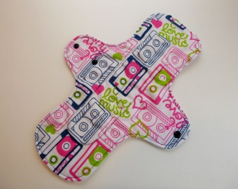 12 inch cloth pad - cloth menstrual pad - mama pad - heavy flow pad - plus size pad - pink retro cassette tape flannel top - made to order