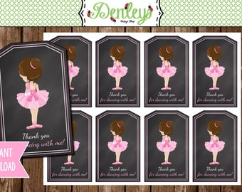 INSTANT DOWNLOAD: Dancing Ballerina Tags (TG007)