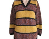 Vintage Sweater Striped Sweater Brown Sweater Mustard Sweater Pullover Sweater Chunky Sweater Old Sweater Knit Sweater V Neck Sweater Ladies