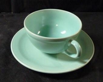 Vernon Kilns Teacup Modern California Pistachio Green Teacup and Saucer