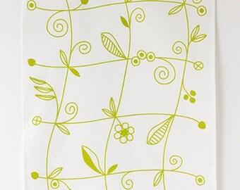 Linen Tea Towel - Little Vine in Fern