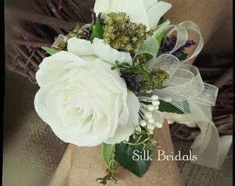 Wrist corsage cream ivory silk roses  Wedding Bridal flowers mother grandmother prom keepsake flowers