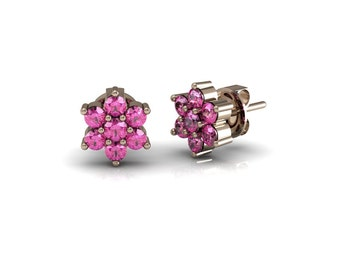 Sapphire Emerald Ruby Blossom Stud Earrings in 14k Rose Gold| made to order for you within 5-7 business days