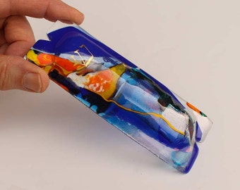 Fused glass mezuzah blue dichroic glass, orange, cobalt blue with gold painted Shin