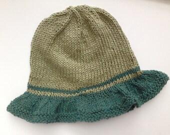 Khaki Cotton Handknit Hat, with Teal Brim. Summer Hat, Sun Hat. OOAK, ready to ship.