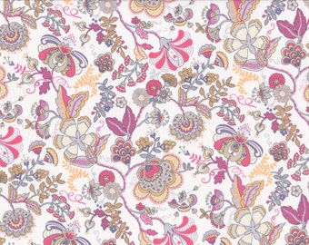 Fat eighth Mabelle M, pink, orange and yellow traditional floral Liberty of London tana lawn