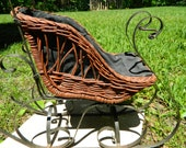 Vintage Antique Wicker And Wrought Iron Doll Sleigh, Doll Display, Doll Sled, Carraige