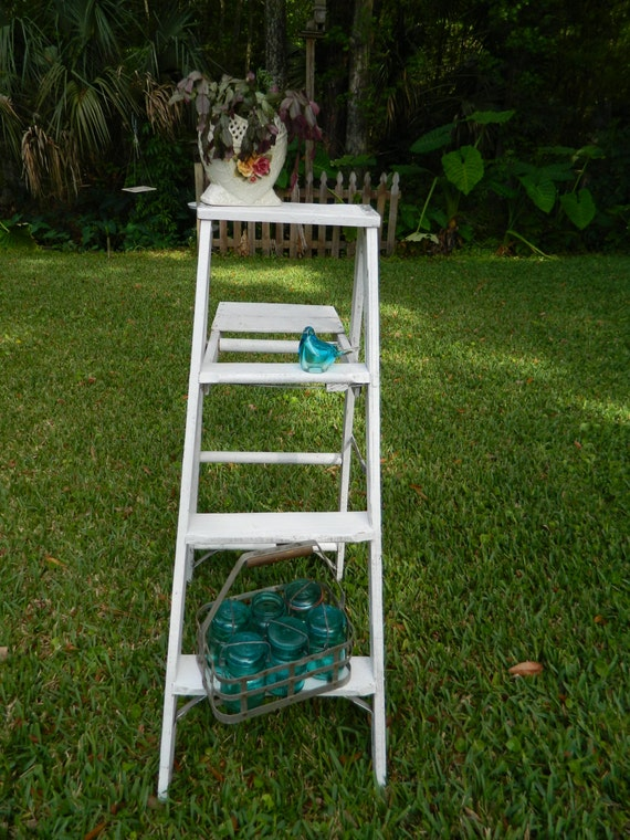 Vintage Wood Ladder Old Painters Ladder Shabby White Wood Step