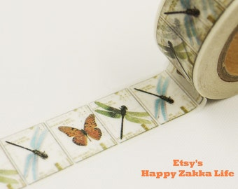Dragonfly & Butterfly - Japanese Washi Masking Tape - 11 yards