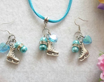 Ice Skate Set of Necklaces and Earrings