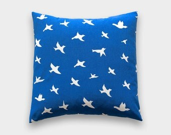 Cobalt Blue Birds Throw Pillow Cover. 18X18 Inches. Royal Blue Birds. Decorative Pillow Cover. Blue Birds Pillow Cover. Bird Pillow Cover.