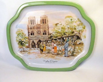 Vintage NOTRE DAME de Paris France Metal Tray - Dish / Made in JAPAN / Picturesque Home Decor / Trinket Jewelry / Daher Style