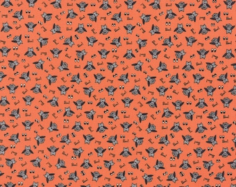 Orange Owl Halloween Fabric - Spooky Delights by Bunny Hill Designs from Moda - 1/2 Yard