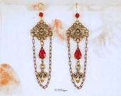 Vintage Style Fleur De Lis Earrings, Antiqued Brass Dangle Pierced or Clip-on Earrings,  Red Steam Punk Earrings, CKDesigns.US