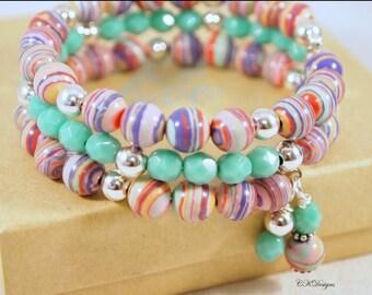 SALE Colorful Memory Wire Bracelet, Turkey Turquoise Beaded Bracelet, Multi Color Bead Bracelet, Wrap bracelet