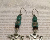 Egyptian Eye of Horus and Scarab Earrings - OOAK Made With Czech Crystals In Turquoise, Copper And Jet With A Czech Scarab And Eye Charm