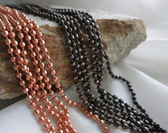 COPPER FACETED Ball Chain, 3.2mm Bright Copper or Hand Oxidized, Connectors included, 2 ft to 20 ft Bulk Chain