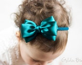 Baby Teal Emma Bow Clip OR Headband - Flower Girl Headband - Baby Satin Bow - Girls Satin Bow - Bun Hair Bow - Baby to Adult Headband
