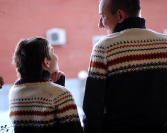 Made to order - Hand knit man woman fair isle matching sweater for two