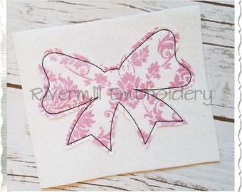 Large Raggy Applique Bow Machine Embroidery Design - 4 Sizes