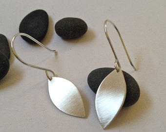 Small brushed silver leaf earrings - leaf shaped brushed silver dangle earrings
