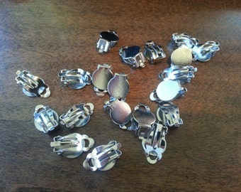 Silver Clip On Earrings - 20 (10 Pairs) 16mm X 10mm